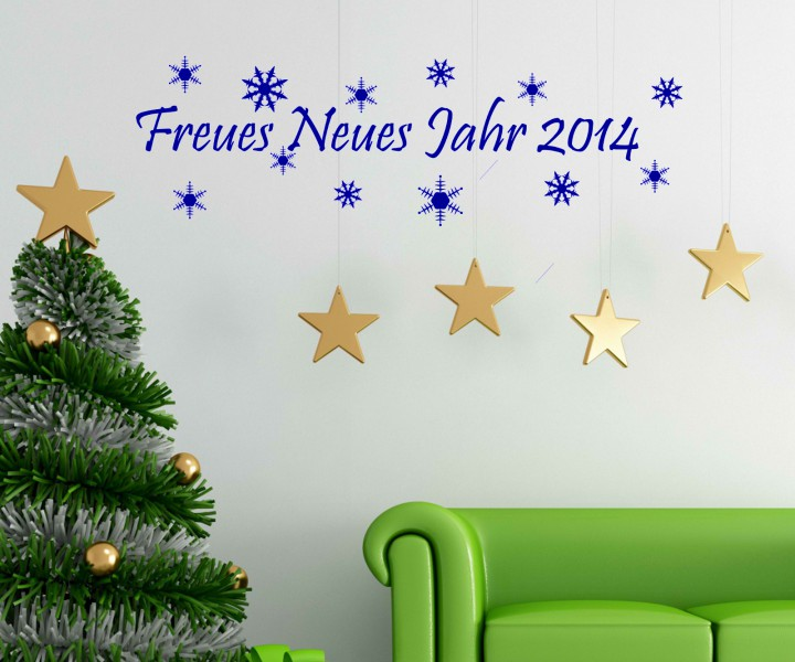 frohes neues jahr 2014 wandtattoo silvester schnee. Black Bedroom Furniture Sets. Home Design Ideas