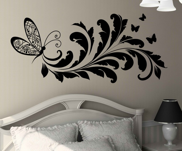 wandtattoo blumenranke schmetterling tattoo wand deko sticker aufkleber 1e040 wandtattoos. Black Bedroom Furniture Sets. Home Design Ideas