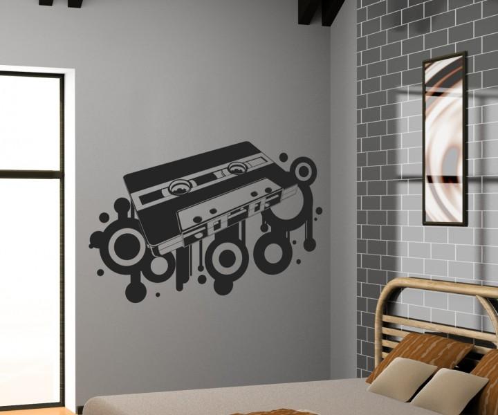 wandtattoo retro kassette oldschoold musik aufkleber dj. Black Bedroom Furniture Sets. Home Design Ideas