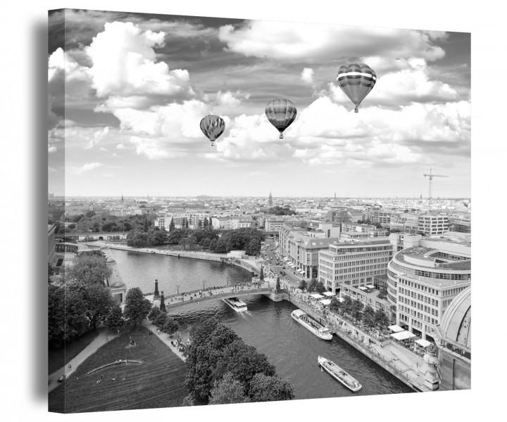 berlin leinwand schwarz wei stadt skyline luftballon bild bilder wandbild 9a184 leinwandbild. Black Bedroom Furniture Sets. Home Design Ideas