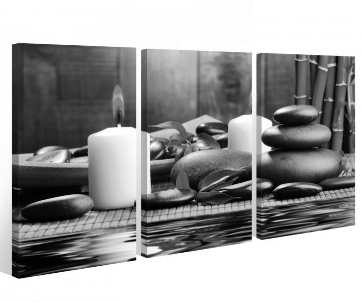 leinwand 3 tlg kerze schwarz wei wellness feng shui stein wasser steine bambus bilder 9a404. Black Bedroom Furniture Sets. Home Design Ideas