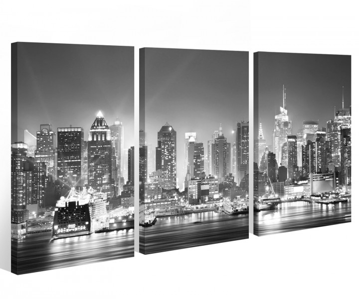 leinwand 3 tlg new york schwarz wei skyline stadt usa bilder wandbild 9a522 holz fertig. Black Bedroom Furniture Sets. Home Design Ideas