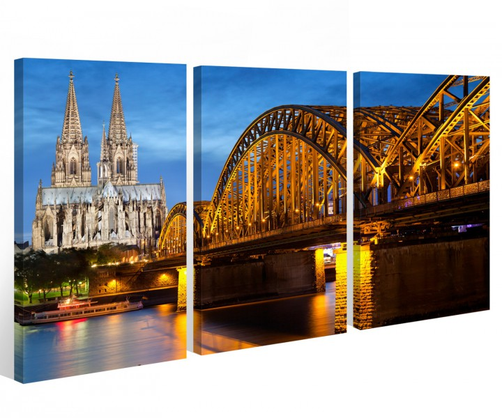 leinwand k ln 3 tlg k lner dom city skyline stadt cologne bilder wandbild 9a531 holz fertig. Black Bedroom Furniture Sets. Home Design Ideas