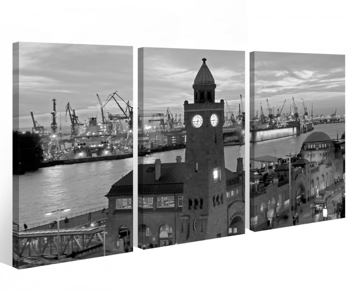 leinwand 3 tlg hamburg schwarz wei hafen stadt skyline nacht bilder wand 9a552 holz fertig. Black Bedroom Furniture Sets. Home Design Ideas