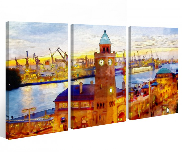 leinwand 3 tlg hamburg hafen stadt skyline bild wandbild. Black Bedroom Furniture Sets. Home Design Ideas