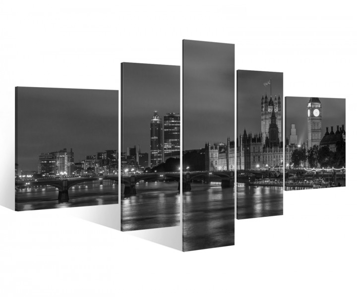 leinwand 5 tlg london schwarz wei skyline stadt bilder druck wandbild 9a881 holz fertig. Black Bedroom Furniture Sets. Home Design Ideas