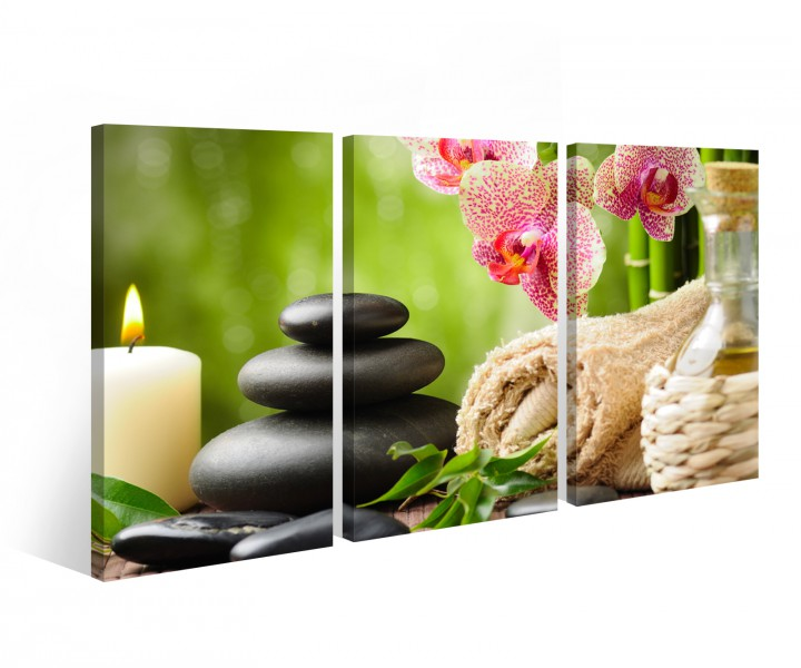 leinwand 3 tlg wellness feng shui steine stein blume kerze orchidee bild 9b251 leinwandbild. Black Bedroom Furniture Sets. Home Design Ideas