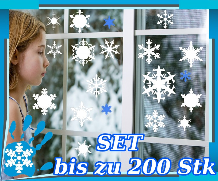 schneeflocken weihnachten wandtattoo fensteraufkleber. Black Bedroom Furniture Sets. Home Design Ideas