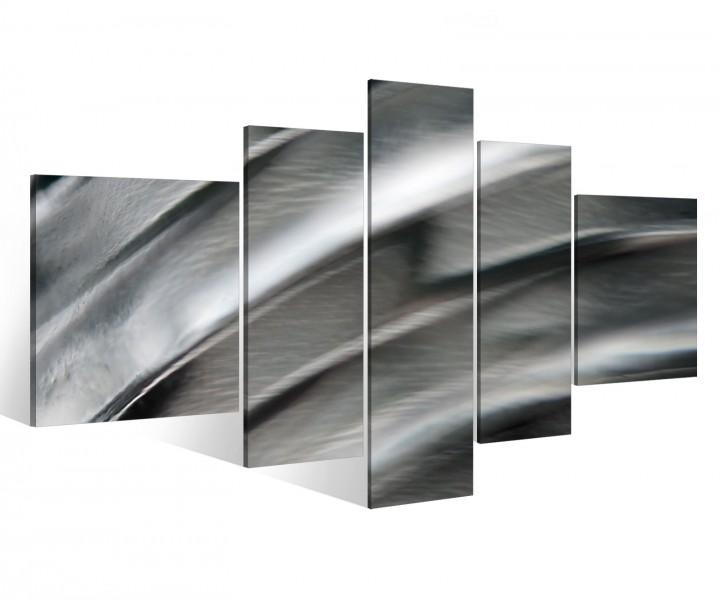 Leinwand 5 tlg silber metall streifen abstrakt bild wandbild aufgespannt 9b645 holz fertig - Metall wandbilder ...