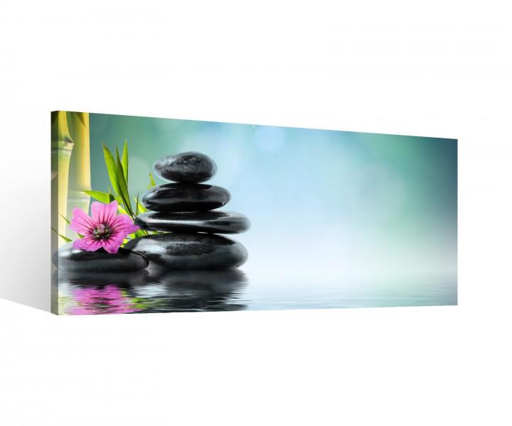leinwand 1 tlg wellness stein bambus orchidee steine feng shui bild blume 9b784holz fertig. Black Bedroom Furniture Sets. Home Design Ideas
