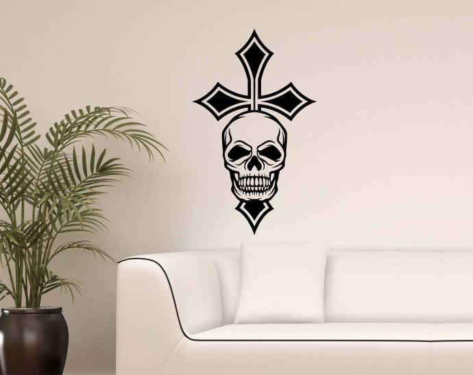 wandtattoo xxl sch del iron kreuz totenkopf knochen skulls. Black Bedroom Furniture Sets. Home Design Ideas