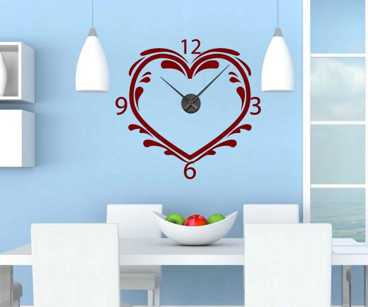 wandtattoo mit uhr 59x57cm herz liebe wanduhr uhrwerk. Black Bedroom Furniture Sets. Home Design Ideas