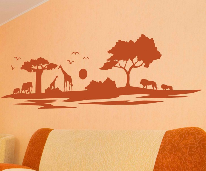 wohnzimmer afrika style:Wandtattoo Afrika Skyline Savanne Wand Baum Giraffe Elefant Aufkleber