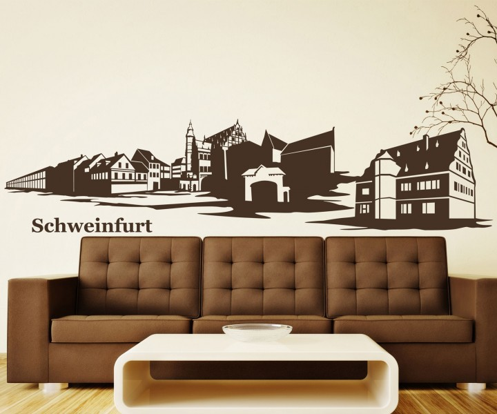 wandtattoo schweinfurt skyline xxl aufkleber wandsticker deko deutschland 1m180 wandtattoos. Black Bedroom Furniture Sets. Home Design Ideas
