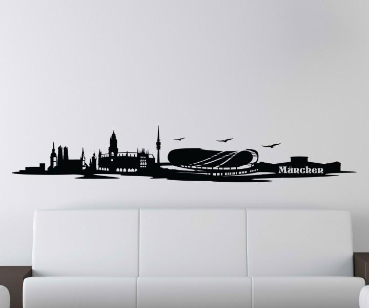 wandtattoo skyline m nchen bayern deutschland aufkleber stadion 1m086 2 text wandtattoos. Black Bedroom Furniture Sets. Home Design Ideas