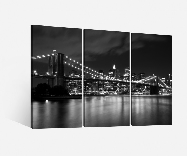 leinwand 3 tlg brooklyn bridge schwarz wei new york skyline bild usa 9h063 leinwandbild. Black Bedroom Furniture Sets. Home Design Ideas