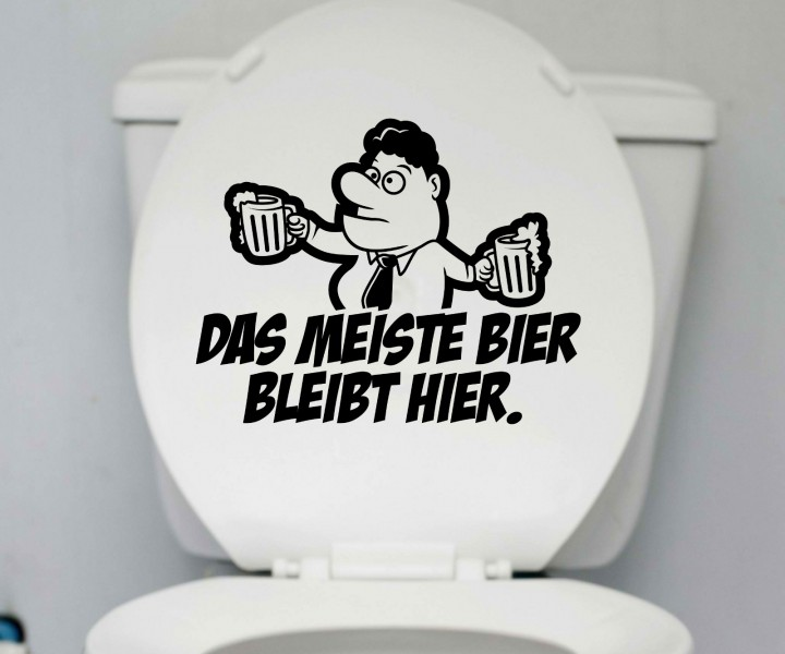 wc 25x20cm deckel bier aufkleber toilette lustig spruch badezimmer bad sticker 1k182 sonstige. Black Bedroom Furniture Sets. Home Design Ideas