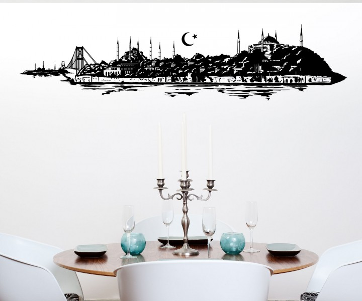 wandtattoo istanbul t rkiye br cke skyline city t rkei. Black Bedroom Furniture Sets. Home Design Ideas