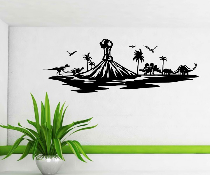 wandtattoo dinosaurier skyline vulkan dinoland sticker. Black Bedroom Furniture Sets. Home Design Ideas