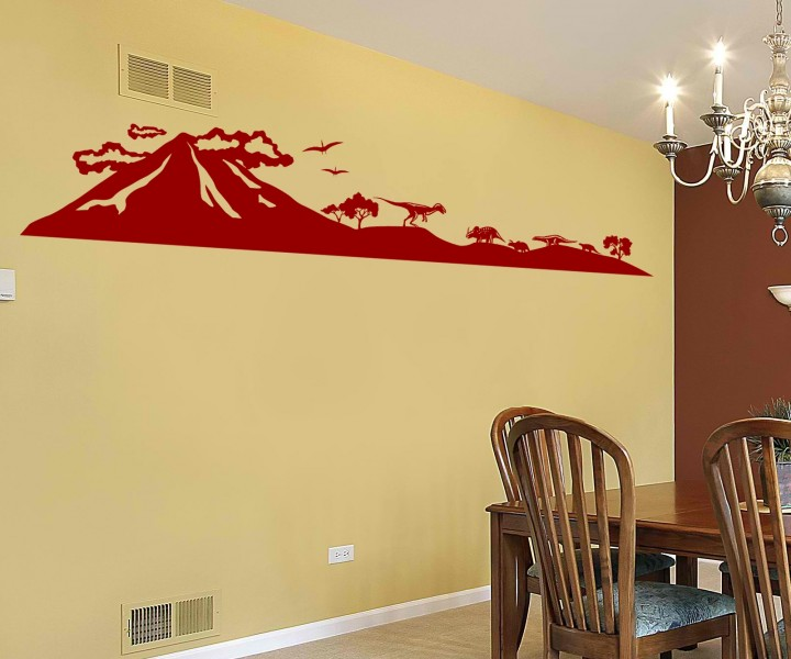 wandtattoo dinosaurier skyline dino berg vulkan tattoo. Black Bedroom Furniture Sets. Home Design Ideas