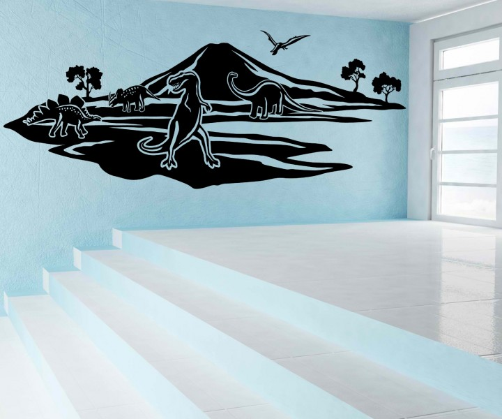 wandtattoo dinosaurier skyline tyrannosaurus sticker. Black Bedroom Furniture Sets. Home Design Ideas