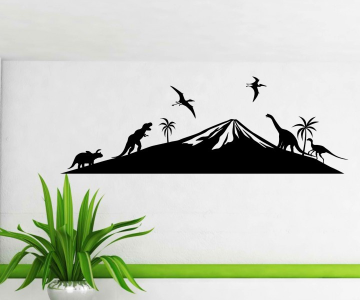 wandtattoo dinosaurier skyline dino sticker tattoo. Black Bedroom Furniture Sets. Home Design Ideas