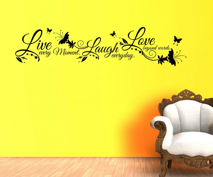 wandtattoo spruch live laugh love wandsticker zitate. Black Bedroom Furniture Sets. Home Design Ideas