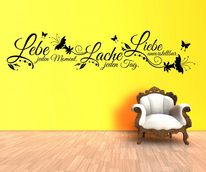 wandtattoo spruch liebe lebe lache wandsticker zitate. Black Bedroom Furniture Sets. Home Design Ideas