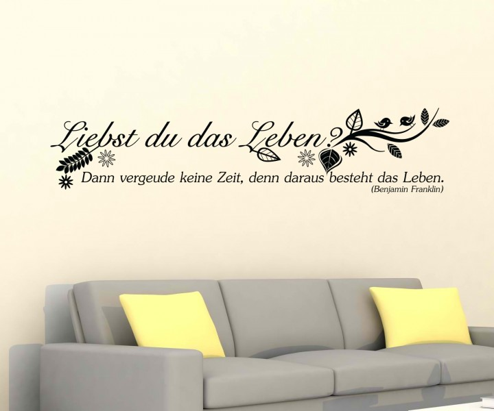 wandtattoo spruch leben wandsticker zitate tattoo zitat. Black Bedroom Furniture Sets. Home Design Ideas