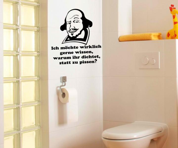 Toiletten Spruch Aufkleber, Wandtattoo Badezimmer, WC Bad