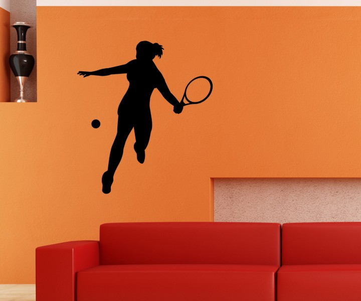 wandtattoo tennis spielerin sport spiel sticker tattoo aufkleber wand 5g047 wandtattoos sport. Black Bedroom Furniture Sets. Home Design Ideas