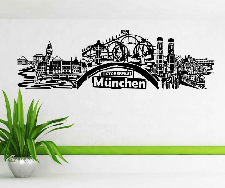 wandtattoo m nchen stadt deutschland skyline wand aufkleber wandbild 1m619 wandtattoos skylines. Black Bedroom Furniture Sets. Home Design Ideas