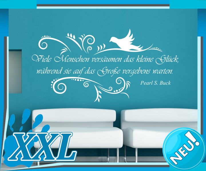 wandtattoo spruch gl ck pearl buck zitat aufkleber spr che zitate tattoo 5d203 wandtattoos. Black Bedroom Furniture Sets. Home Design Ideas