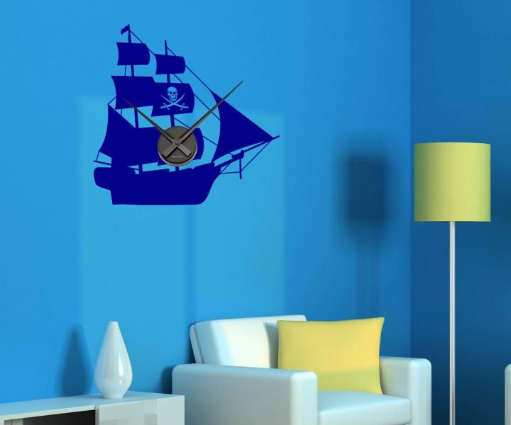 wandtattoo uhr pirat schiff 56cmx55cm tattoo sticker wanduhr aufkleber 1x202 wandtattoos. Black Bedroom Furniture Sets. Home Design Ideas