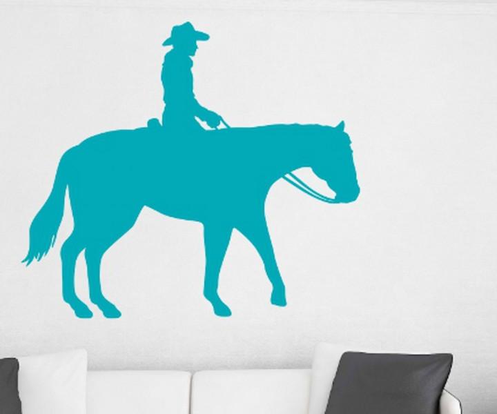 Wandtattoo pferd cowboy reiter tier tattoo sticker aufkleber wandtattoo 1b012 wandtattoos tierwelt - Wandtattoo cowboy ...
