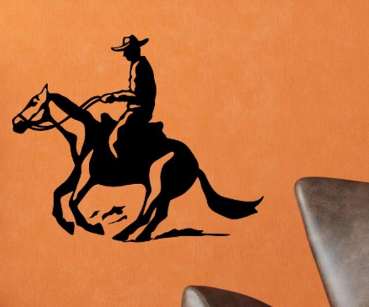 Wandtattoo pferd cowboy reiter tier deko sticker aufkleber wandtattoo 1b016 wandtattoos tierwelt - Wandtattoo cowboy ...