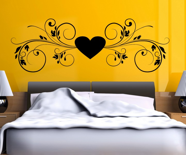 wandtattoo herz herzranke blumenranke tattoo wand deko. Black Bedroom Furniture Sets. Home Design Ideas