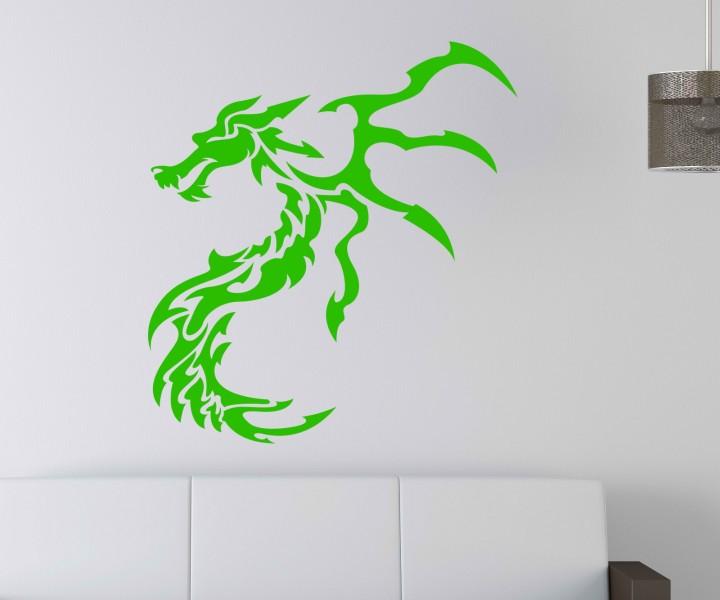 Wandtattoo drache tribal dragon fantasy dekoration wand for Dekoration wand