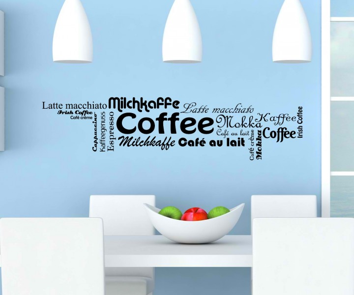 wandtattoo kaffee sorten coffee k che deko wand sticker. Black Bedroom Furniture Sets. Home Design Ideas