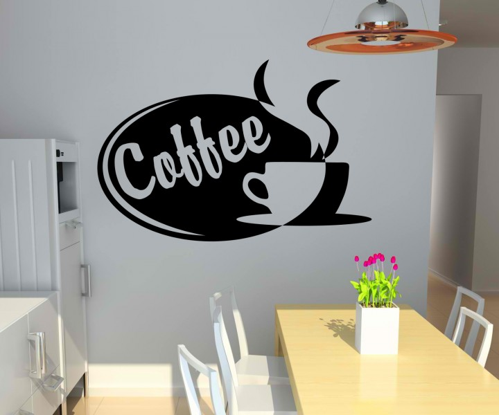 wandtattoo coffee tasse kaffee k che deko wand sticker. Black Bedroom Furniture Sets. Home Design Ideas