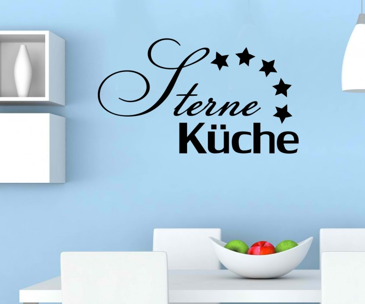 wandtattoo 5 sterne k che tattoo wand deko text sticker. Black Bedroom Furniture Sets. Home Design Ideas