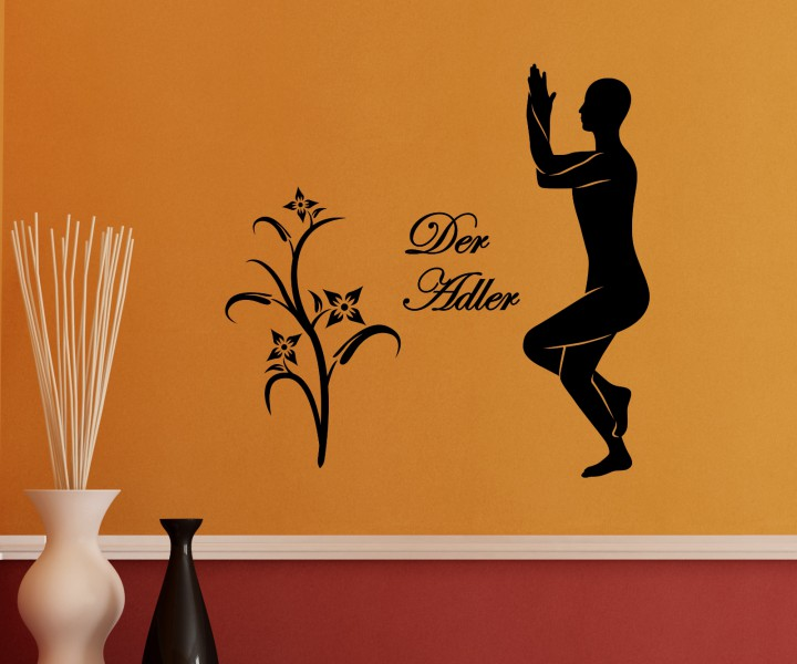 wandtattoo adler yoga bung joga deko sport sticker tattoo aufkleber wand 5g073 wandtattoos sport. Black Bedroom Furniture Sets. Home Design Ideas