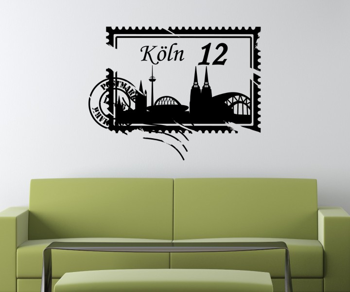 wandtattoo skyline k ln stadt stamps briefmarke marke wand aufkleber 5m209 wandtattoos skylines. Black Bedroom Furniture Sets. Home Design Ideas