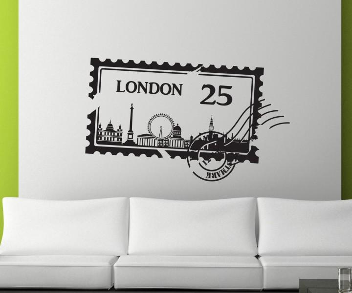 Wandtattoo skyline london stadt stamps briefmarke marke wand aufkleber 5m217 wandtattoos - Skyline london wandtattoo ...