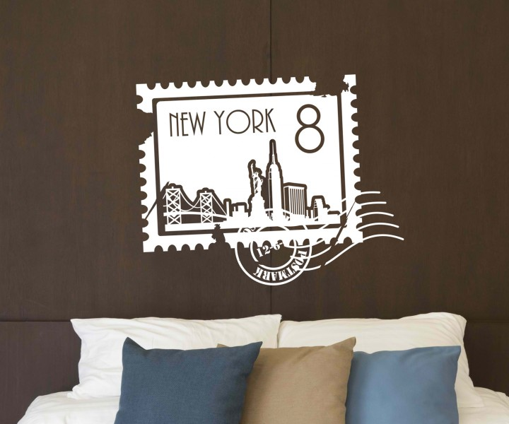 wandtattoo skyline new york stadt stamps briefmarke marke wand aufkleber 5m225 wandtattoos. Black Bedroom Furniture Sets. Home Design Ideas