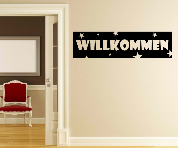 wandtattoo willkommen anschrift wand deko sticker. Black Bedroom Furniture Sets. Home Design Ideas