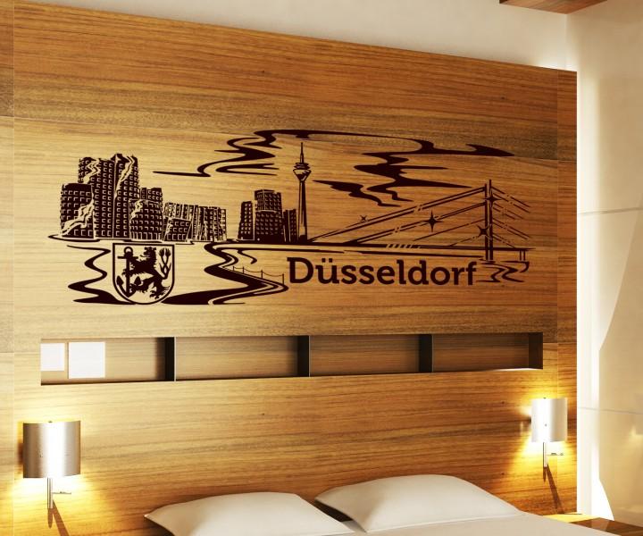 Wandtattoo d sseldorf skyline xxl tattoo wand aufkleber deutschland stadt 1m137 wandtattoos - Dusseldorf wandtattoo ...